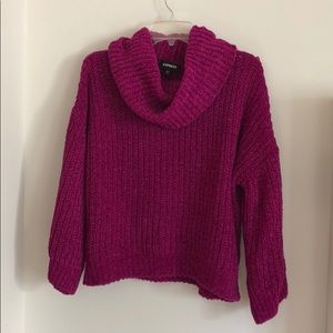 Express Magenta Cowl Neck Chenille Sweater